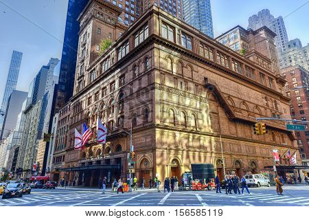 New York - November 13, 2016: Carnegie Hall in Manhattan New York City USA. Carnegie Hall is a concert venue in Midtown Manhattan in New York City
