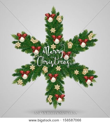 Evergreen Christmas wreath. Snowflake made from Xmas tree branches, toys, gingerbread cookies with Merry Christmas ans Happy New Year greetings vector illustration. Concept for winter holidays cards. Christmas graphic. Merry Christmas design. Christmas.