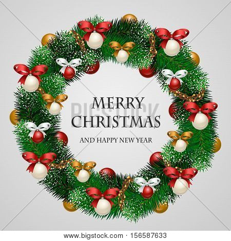 Christmas wreath. Beautiful evergreen wreath of Xmas tree branches with garland, toys, ribbons vector illustration. Merry Christmas and Happy New Year greetings. Home decoration for winter celebration. Christmas graphic. Merry Christmas design. Christmas.