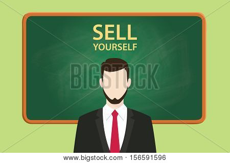 sell yourself illustration with businessman standing with chalkboard and text behind vector graphic illustration
