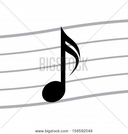 Music note icon. Sound melody pentagram and musical theme. Isolated design. Vector illustration