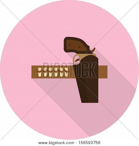 Cowboy, belt, gun icon vector image. Can also be used for wild west. Suitable for mobile apps, web apps and print media.