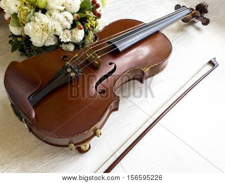The view of a violin on background