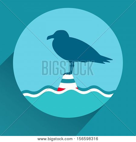 Seagull on a sea buoy. Blue flat icon for mobile app design. Long shadow. Vector EPS10 illustration.