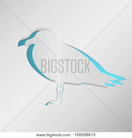 Seagull cut from paper. Greeting card with bird paperwork. Vector EPS10 realistic illustration.
