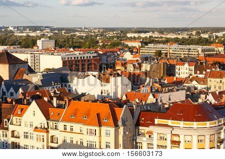 Poznan, Poland - August 30, 2016: View On Old And Modern Buildings At Sunset In Town Poznan