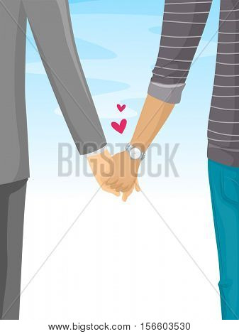 Romantic Illustration of a Couple Holding Hands While Taking a Leisurely Stroll
