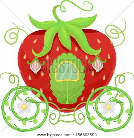 Colorful and Whimsical Illustration of a Fancy Carriage Shaped Like a Strawberry