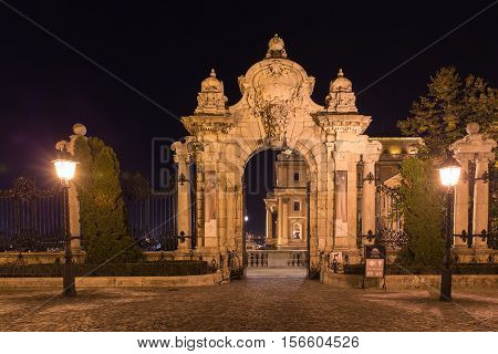 Budapest, ornate arched gateway to the Buda Castle Or Royal Palace.