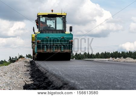 Road Roller Working On The Construction Site