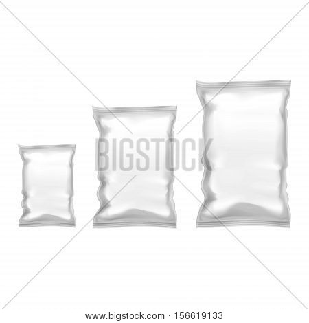 Template Blank Realistic Plastic Pack With Zipper. Empty Mock Up. Vector illustration