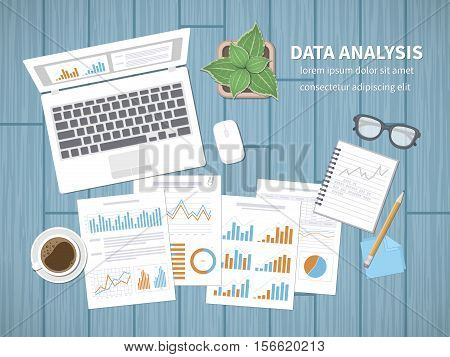 Data analysis concept. Financial Audit, SEO analytics, statistics, strategic, report, management. Charts graphics on a screen and documents, notebook, tablet, stickers, pencil, glasses, coffee. Vector