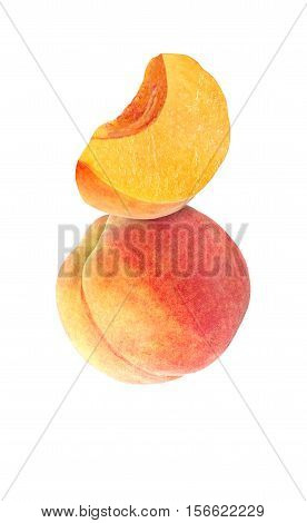 hanging falling hovering and flying whole and sliced peach isolated on white background with clipping path