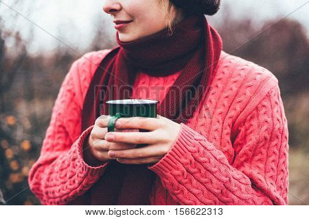 Traveler Girl Pouring Tea From Thermos Cup, Outdoors. Young Woma