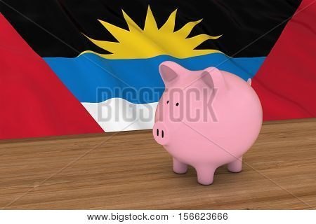 Piggybank In Front Of Antigua And Barbuda Flag 3D Illustration