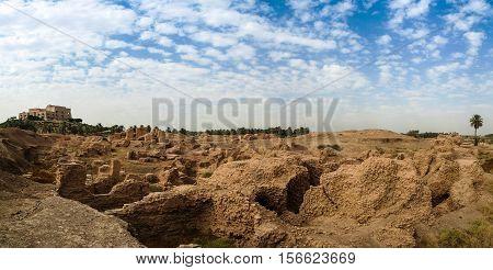 Panorama of partially restored Babylon ruins and Former Saddam Hussein Palace Babylon Hillah Iraq
