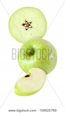 hanging falling hovering and flying piece of apple fruits isolated on white background with clipping path