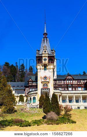 Beautiful landmark of Romania - former royal residence Peles castle, Sinaia