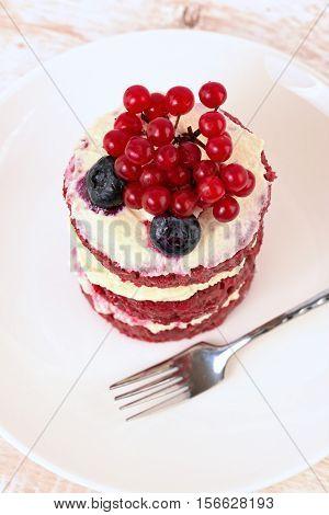 Cake with berries. Cake sweet dessert. red cake