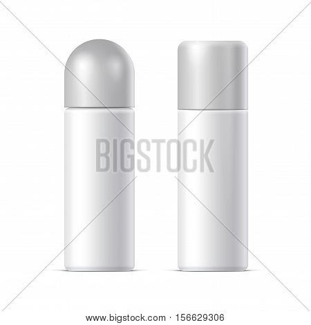 Realistic White Cosmetics bottle can Spray Deodorant Air Freshener. With lid. Vector illustration