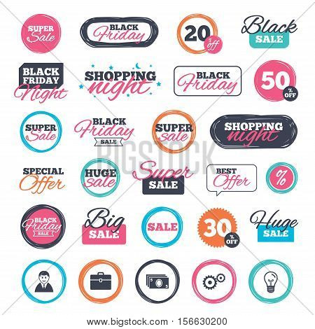 Sale shopping stickers and banners. Businessman icons. Human silhouette and cash money signs. Case and gear symbols. Website badges. Black friday. Vector