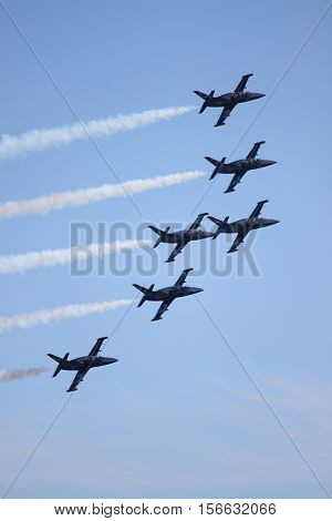 ROME - JUNE 3: The acrobatic team Breitling Jet Team perform at the Rome International Air Show on June 3 2012 in Rome Italy