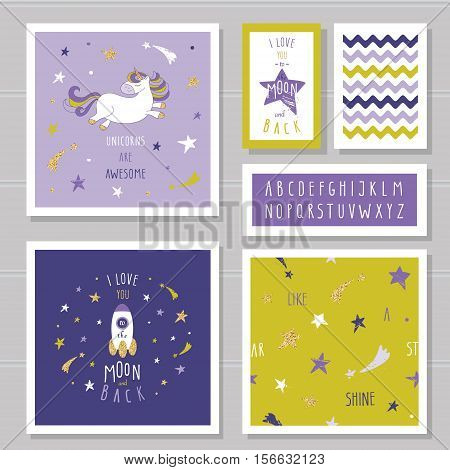 Cute cards with unicorn and gold glitter stars. For birthday invitation baby shower pajamas sleepwear design. I love you to the moon and back. Hand written narrow font. With two seamless patterns.