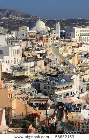 SANTORINI GREECE - JULY 31: Landscape view of Fira town on July 31 2012 in Santorini island Greece. Santorini is the most famous and visited island of Greece