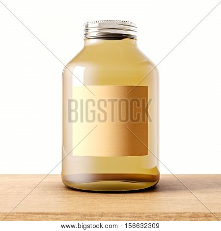 One empty jar of transparent glass with closed metal cap on the wood desk.White wall at background.Clean glassy container and craft mockup label.Drinks, food storage.3d rendering