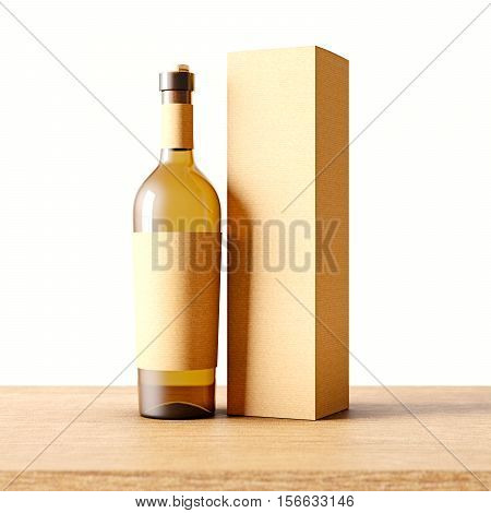 Closeup one transparent glass bottle of wine on the wooden desk, white wall background.Empty glassy container concept with craft mockup label and carton paper bag for bottles.3d rendering