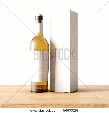 Closeup one transparent glass bottle of wine on the wooden desk, gray wall background.Empty glassy container concept with white mockup label and carton paper bag for bottles.3d rendering