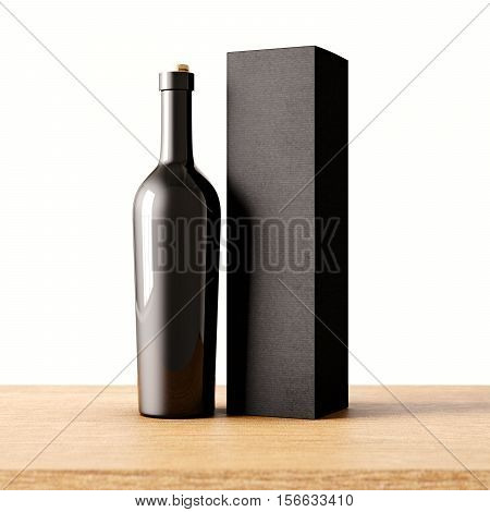 Closeup one not transparent gray glass bottle of wine on the wooden desk, white wall background.Empty glassy container concept and mockup black carton paper bag for bottles.3d rendering
