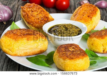 Potato Pancakes Stuffed With Chicken Meat Close-up