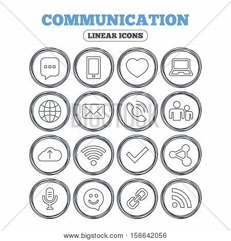 Communication icons. Smartphone, laptop and speech bubble symbols. Wi-fi and Rss. Online love dating, mail and globe thin outline signs. Circle flat buttons with linear icons. Vector