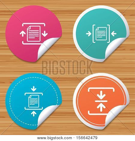 Round stickers or website banners. Archive file icons. Compressed zipped document signs. Data compression symbols. Circle badges with bended corner. Vector