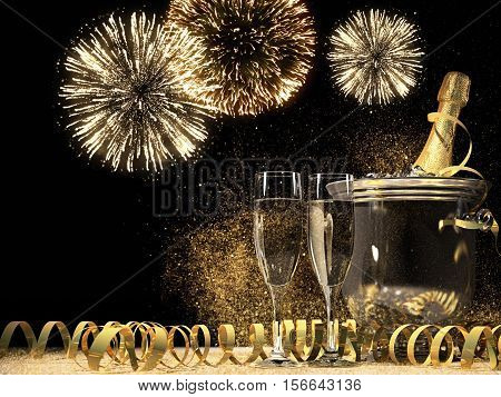 two glasses with champagne and bottle. new years eve concept. 3d rendering