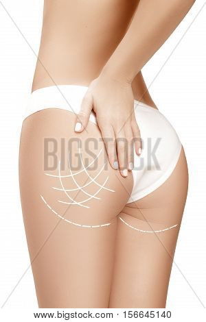 Female body with the drawing arrows on it isolated on white background