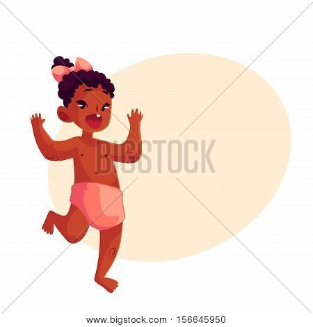 Cute little black baby girl dancing happily, cartoon vector illustrations isolated on yellow background. Little african girl, kid, child, baby, infant dancing from happiness with raised hands