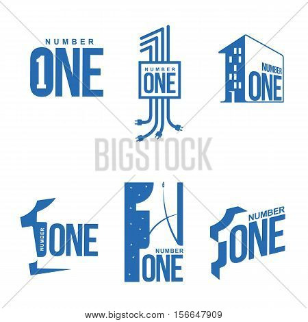 Set of blue and white number one logo templates, vector illustrations isolated on white background. blue and white graphic number one logo templates, corporate identity