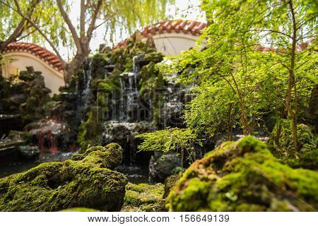 Traditional Chinese private garden,Beautiful Chinese garden and small waterfall