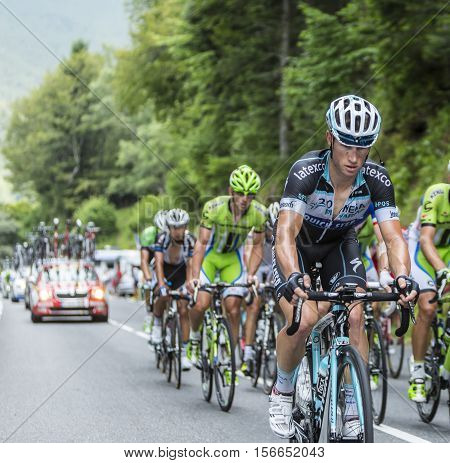 Col du Tourmalet France - July 242014: The Australian cyclist Mark Renshaw of Team Omega Pharma-Quick Step climbing the road to Col de Tourmalet in the stage 18 of Le Tour de France 2014.