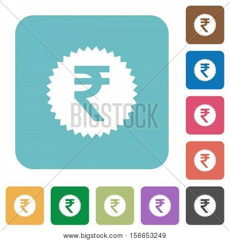 Indian Rupee sticker white flat icons on color rounded square backgrounds