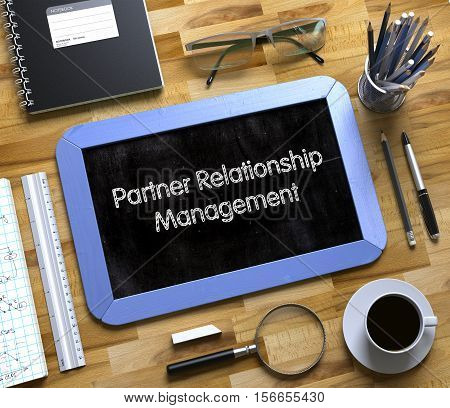 Partner Relationship Management on Small Chalkboard. Partner Relationship Management - Text on Small Chalkboard.3d Rendering.