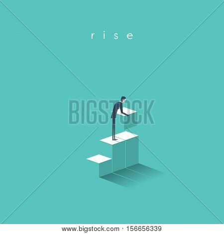 Business concept of growth, success with businessman building steps for his corporate career. Eps10 vector illustration.