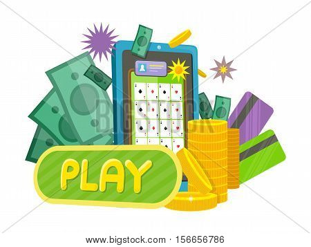 Online games web banner isolated on purple with play button. Money, coins, credit cards, gambling devices and stars. Casino jackpot, luck game, chance and gamble, lucky fortune. Vector illustration