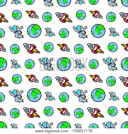 Space Rocket Cosmonaut and Planet Earth Seamless Pattern. Vector background