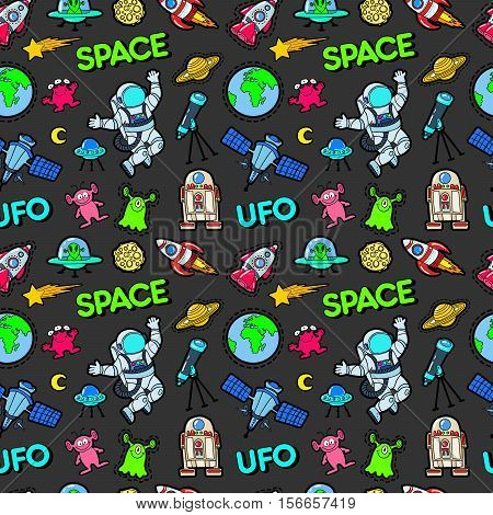 Space Rocket Cosmonaut Planets and UFO Aliens Seamless Pattern. Vector background