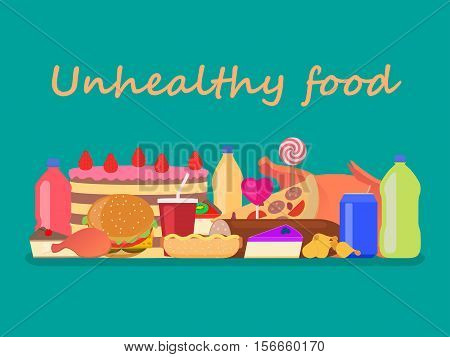 Vector illustration background unhealthy food. Set junk nutrition. Harmful fast food for health. Flat style. Large collection of fatty unhealthy snacks.