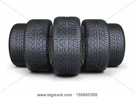 Five wheels. 3d image. Isolated white background.