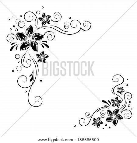 Floral corner design. Ornament black flowers on white background - vector stock. Decorative border with flowery elements, flowers pattern
